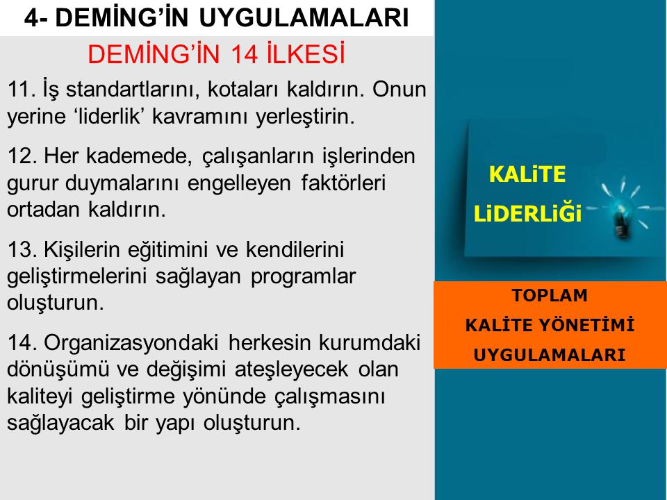 4- DEMİNG'İN UYGULAMALARI