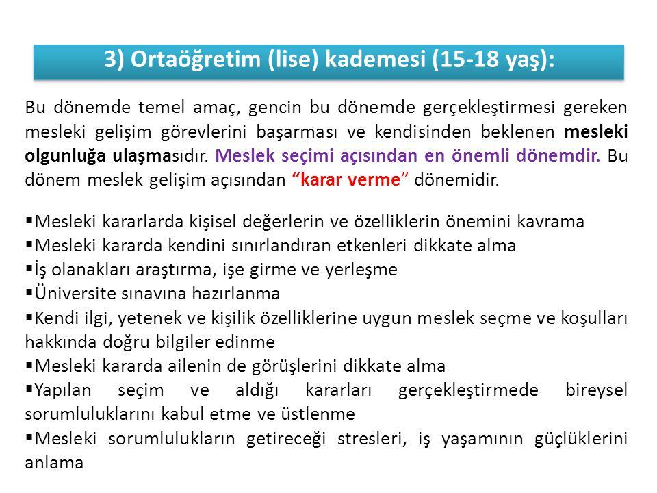 3) Ortaöğretim (lise) kademesi (15-18 yaş):