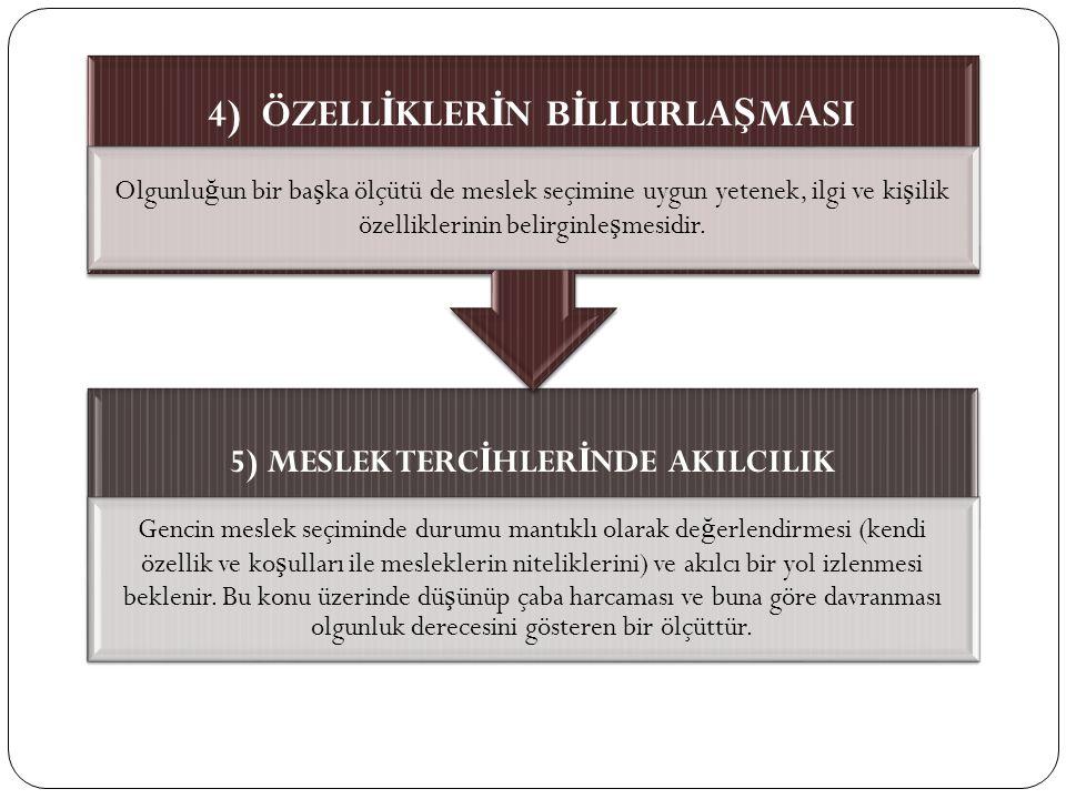 4) ÖZELLİKLERİN BİLLURLAŞMASI 5) MESLEK TERCİHLERİNDE AKILCILIK
