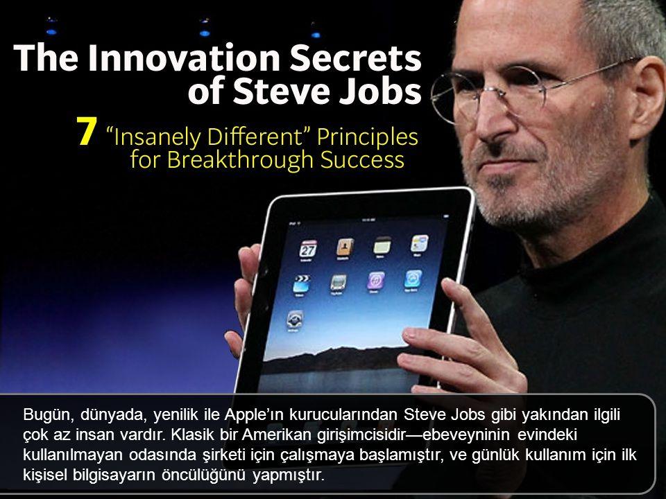 Bugün, dünyada, Apple'ın kurucularından Steve Jobs gibi, yenilik ile yakından ilgili çok az insan vardır. Klasik bir Amerikan girişimcisidir—ebeveyninin evindeki kullanılmayan odasında şirketi için çalışmaya başlamıştır, ve günlük kullanım için ilk kişisel bilgisayarın öncülüğünü yapmıştır.
