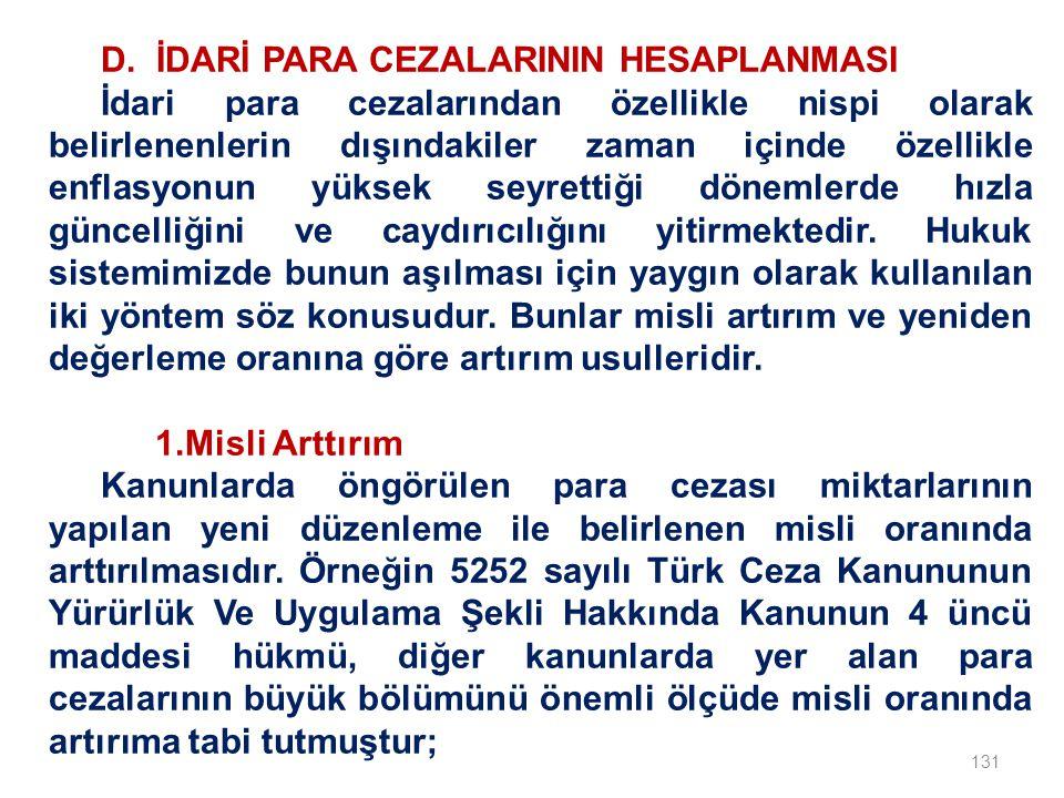 D. İDARİ PARA CEZALARININ HESAPLANMASI