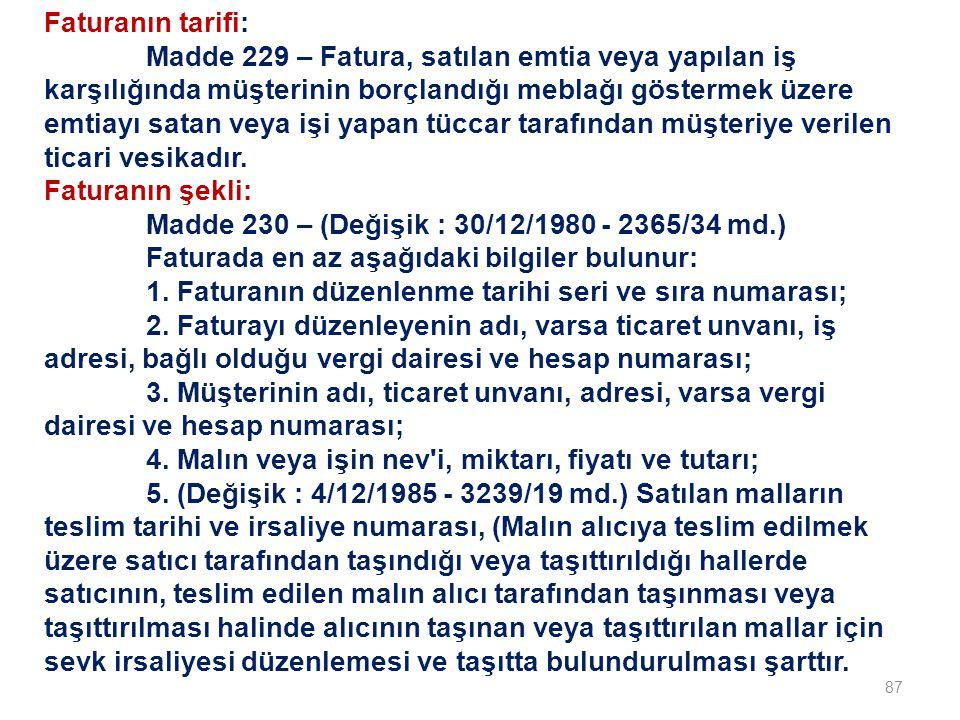 Faturanın tarifi: