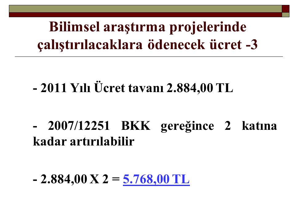 Bilimsel araştırma projelerinde çalıştırılacaklara ödenecek ücret -3