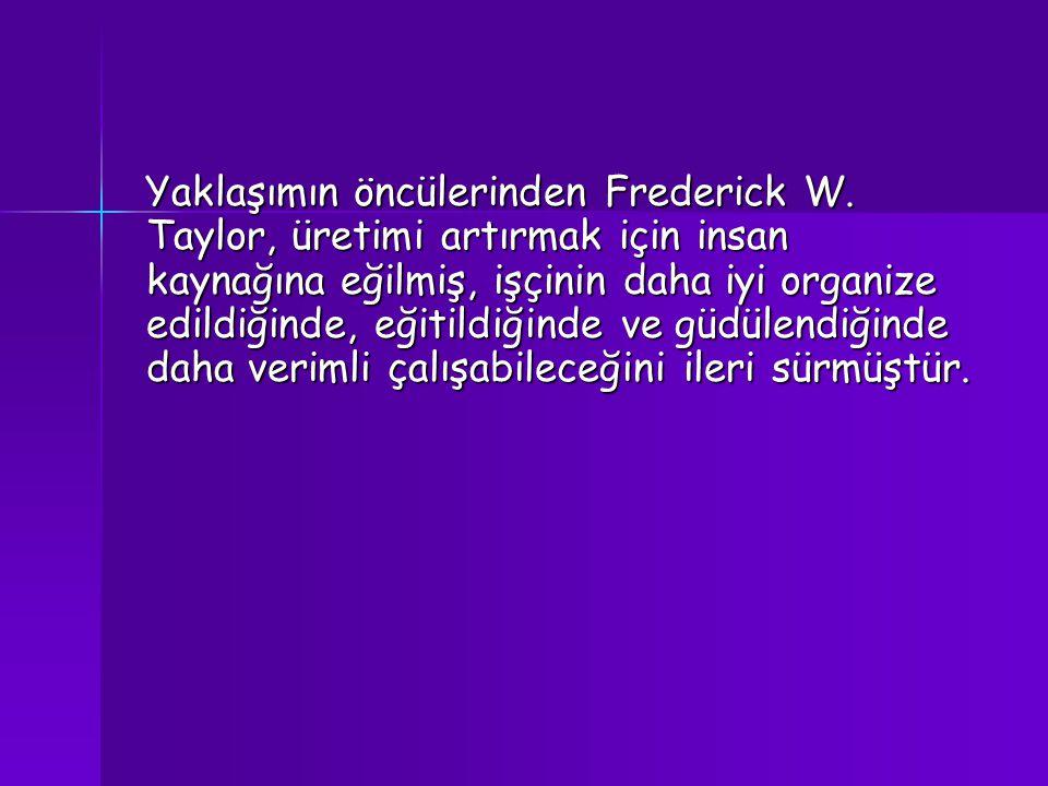 Yaklaşımın öncülerinden Frederick W