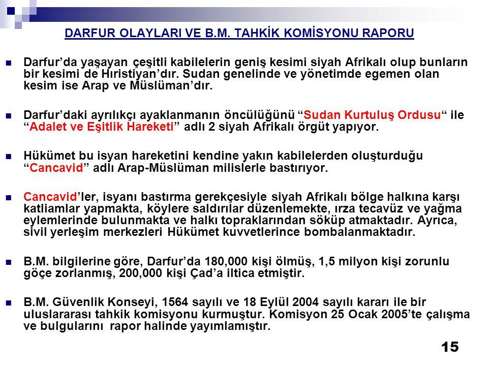 DARFUR OLAYLARI VE B.M. TAHKİK KOMİSYONU RAPORU