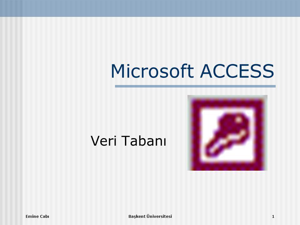 Microsoft ACCESS Veri Tabanı Emine Cabı Başkent Üniversitesi