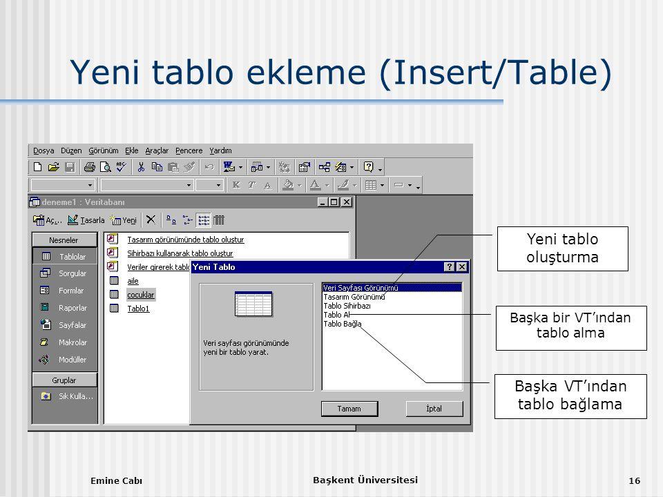 Yeni tablo ekleme (Insert/Table)