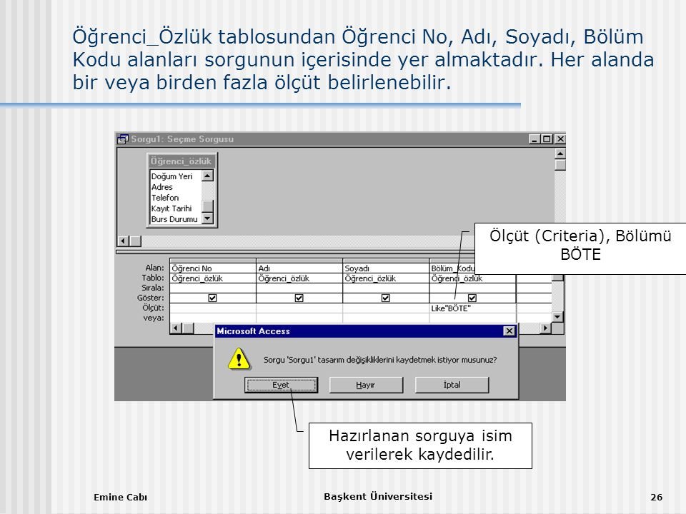 Öğrenci_Özlük tablosundan Öğrenci No, Adı, Soyadı, Bölüm Kodu alanları sorgunun içerisinde yer almaktadır. Her alanda bir veya birden fazla ölçüt belirlenebilir.