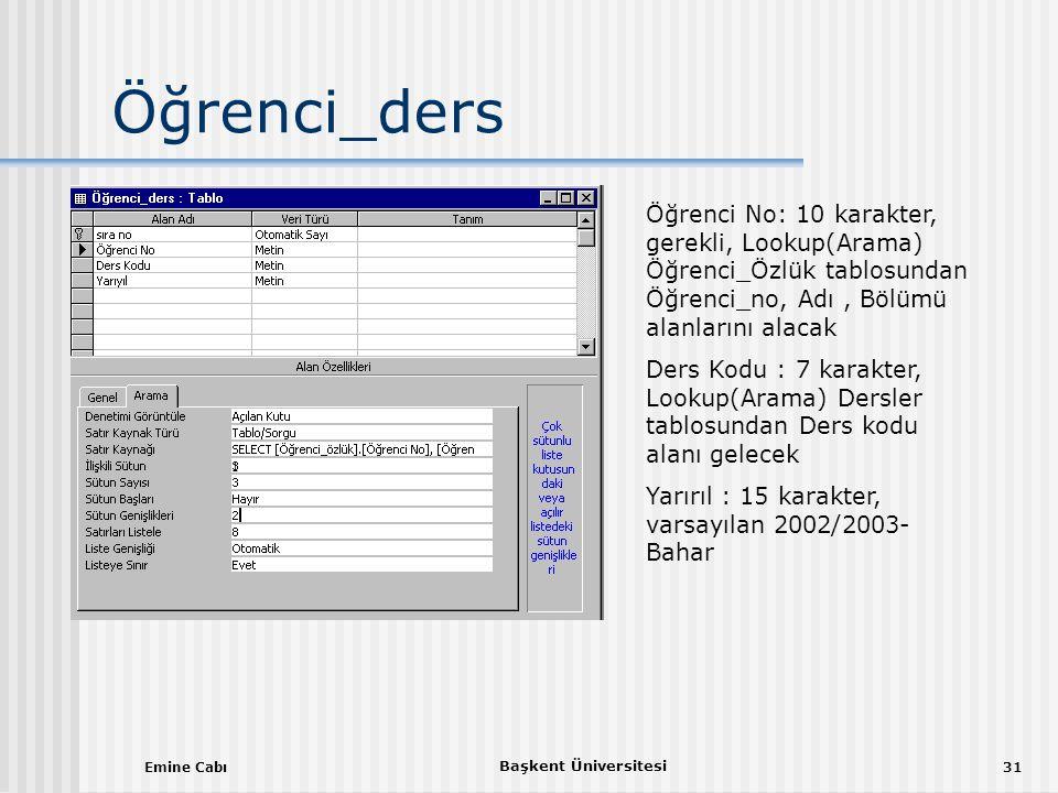 Öğrenci_ders Öğrenci No: 10 karakter, gerekli, Lookup(Arama) Öğrenci_Özlük tablosundan Öğrenci_no, Adı , Bölümü alanlarını alacak.