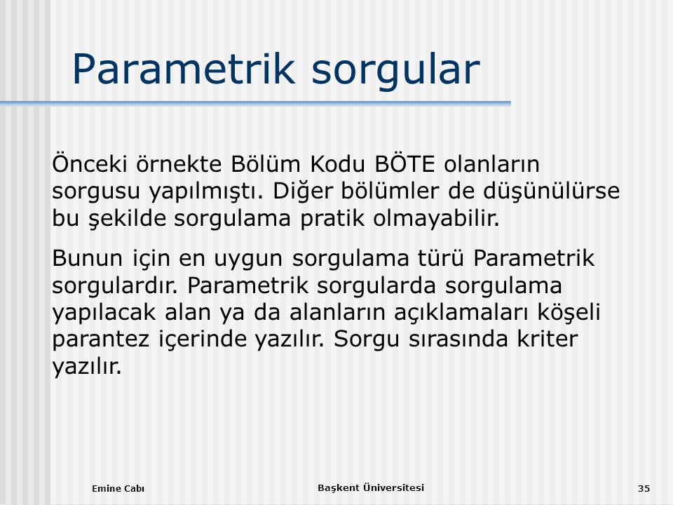 Parametrik sorgular