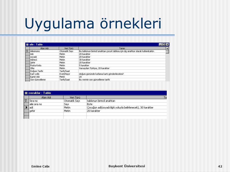 Uygulama örnekleri Emine Cabı Başkent Üniversitesi