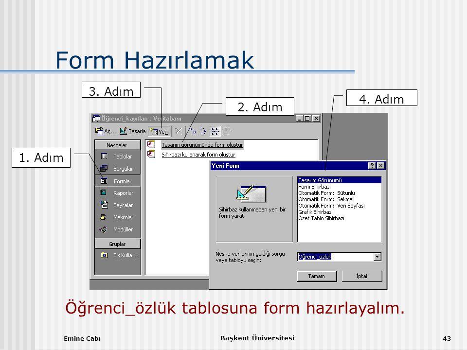 Öğrenci_özlük tablosuna form hazırlayalım.