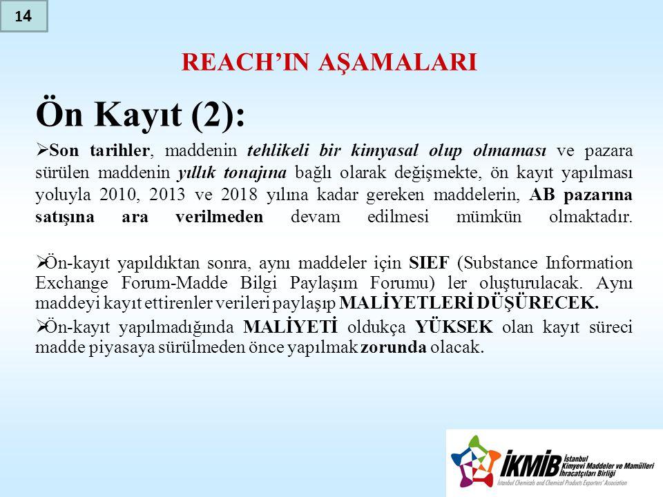 Ön Kayıt (2): REACH'IN AŞAMALARI
