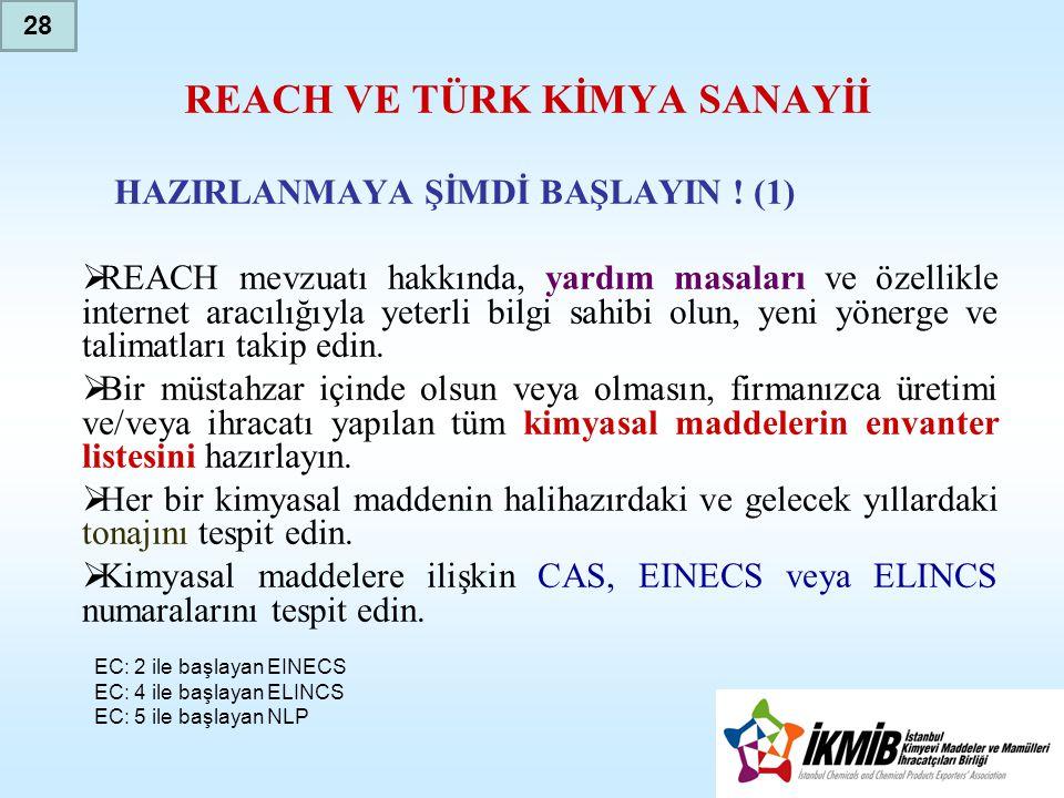 REACH VE TÜRK KİMYA SANAYİİ