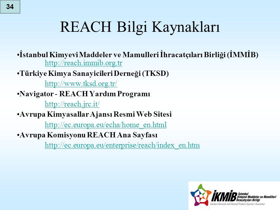 REACH Bilgi Kaynakları