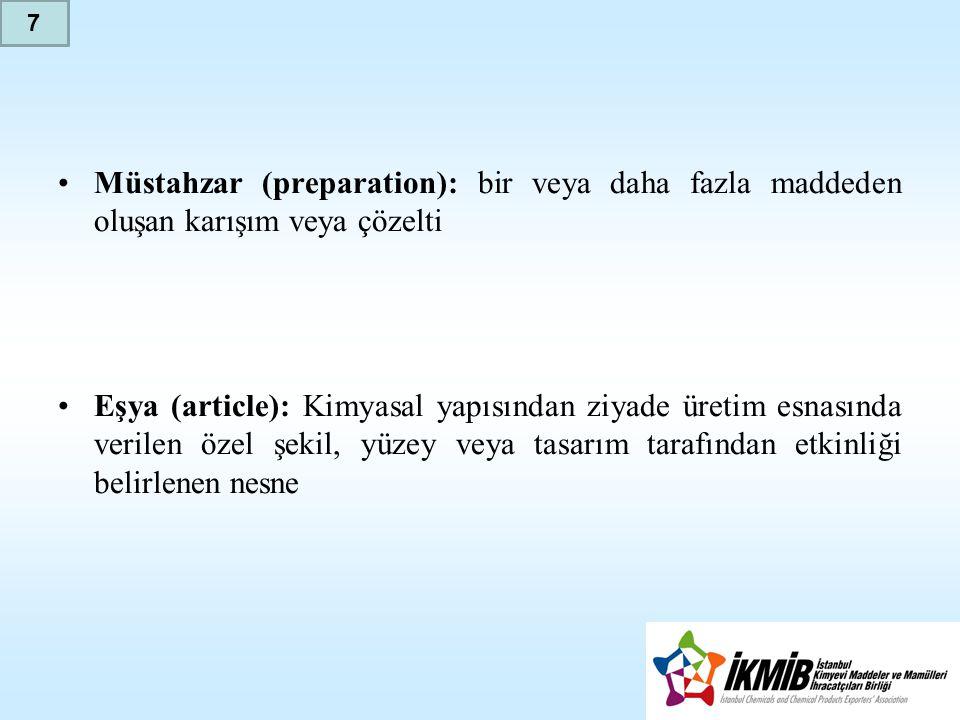 7 Müstahzar (preparation): bir veya daha fazla maddeden oluşan karışım veya çözelti.