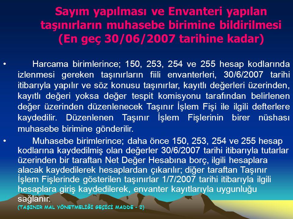 Sayım yapılması ve Envanteri yapılan taşınırların muhasebe birimine bildirilmesi (En geç 30/06/2007 tarihine kadar)