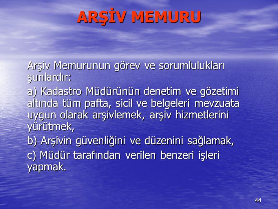 ARŞİV MEMURU Arşiv Memurunun görev ve sorumlulukları şunlardır: