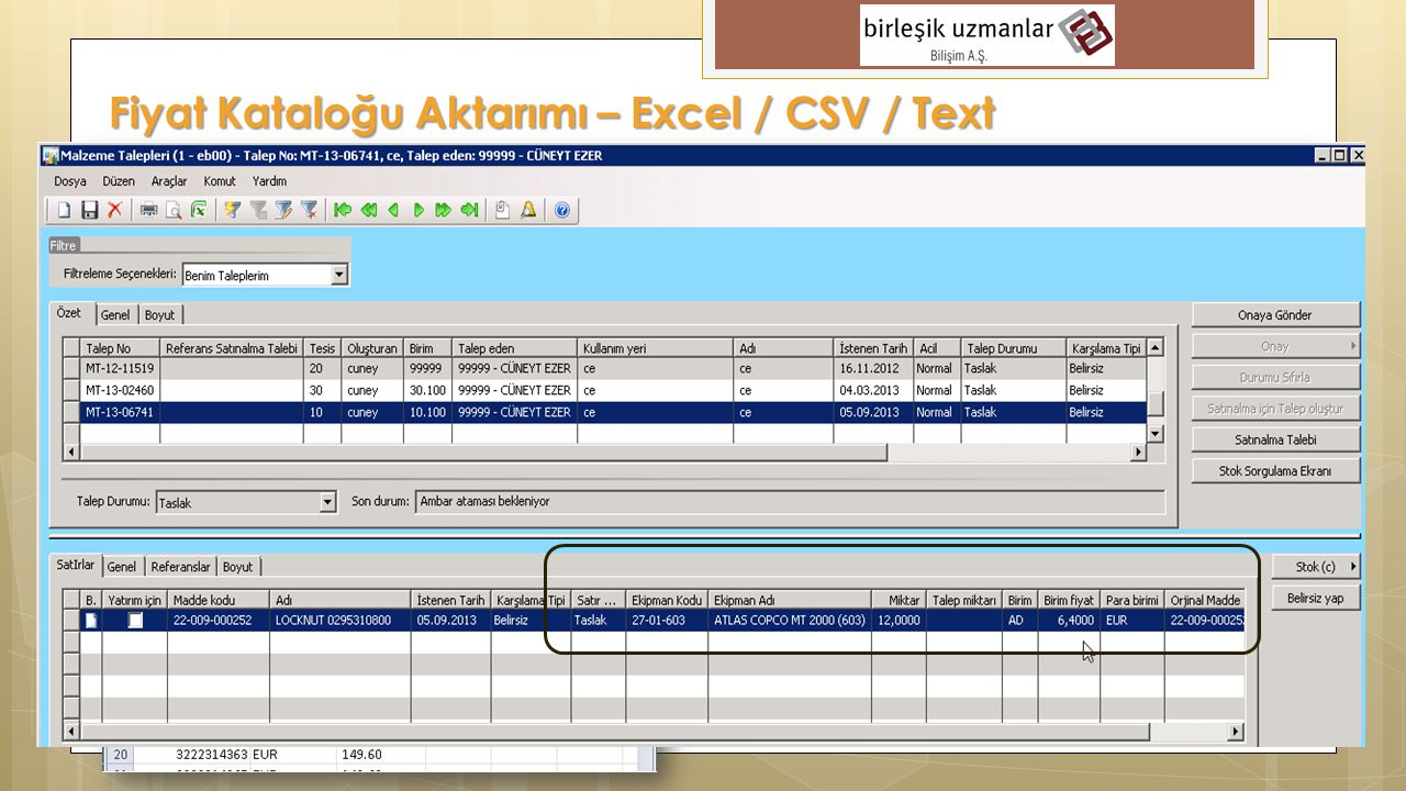 Fiyat Kataloğu Aktarımı – Excel / CSV / Text