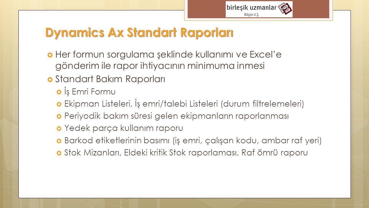 Dynamics Ax Standart Raporları