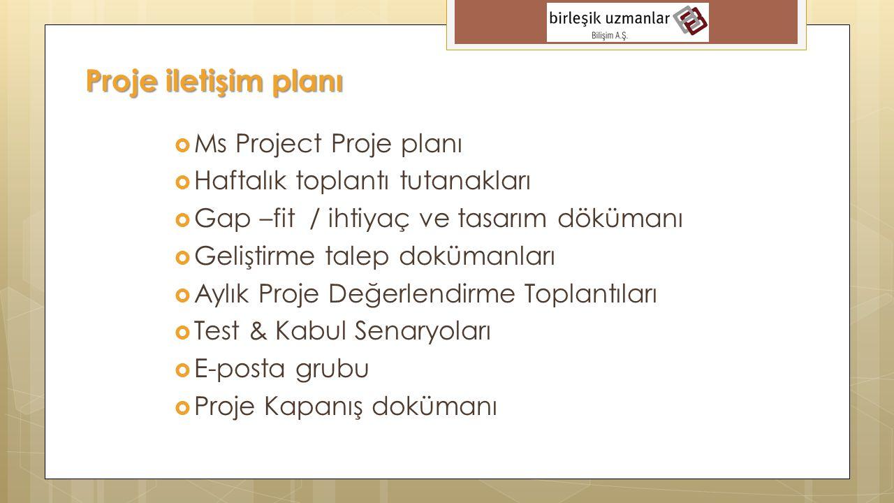 Proje iletişim planı Ms Project Proje planı
