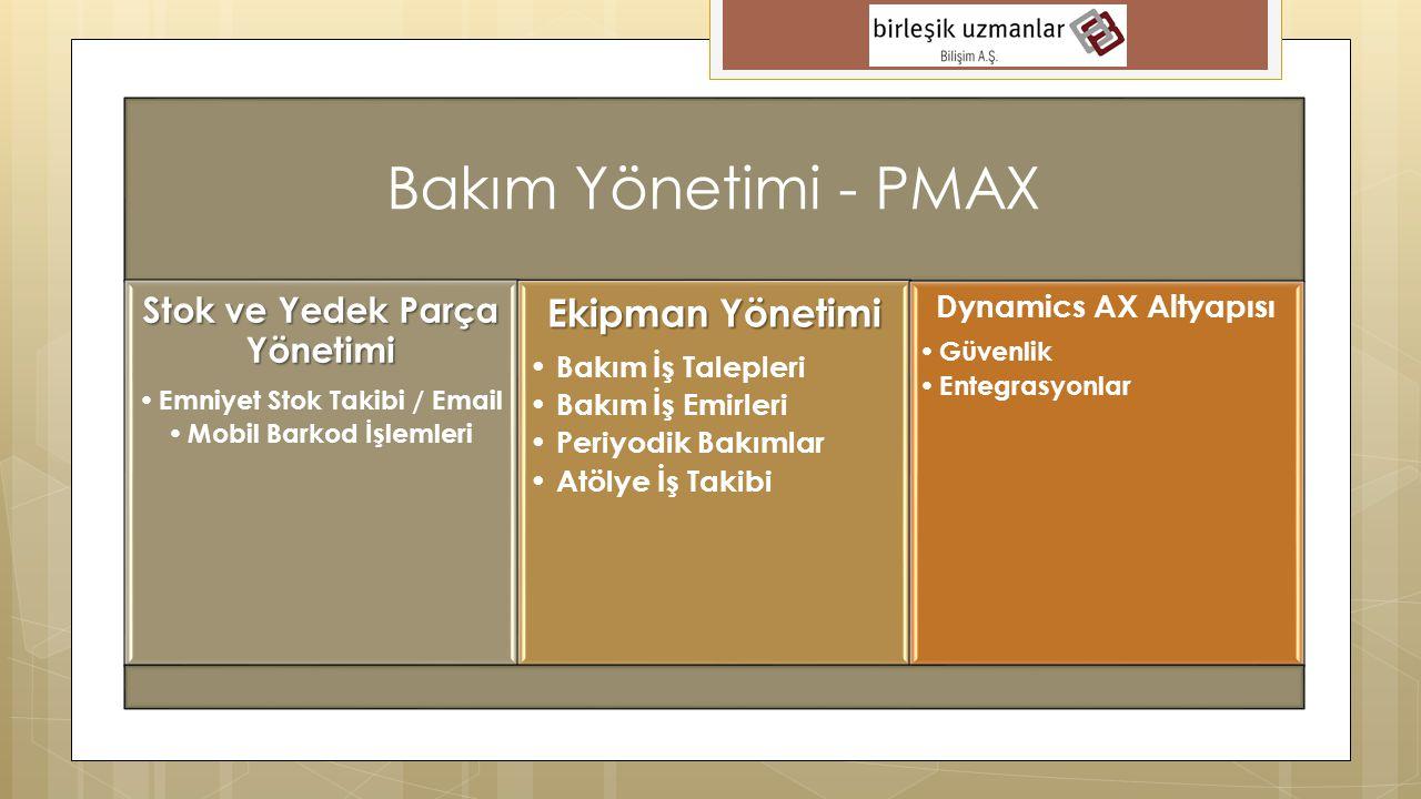 Bakım Yönetimi - PMAX Ekipman Yönetimi Stok ve Yedek Parça Yönetimi