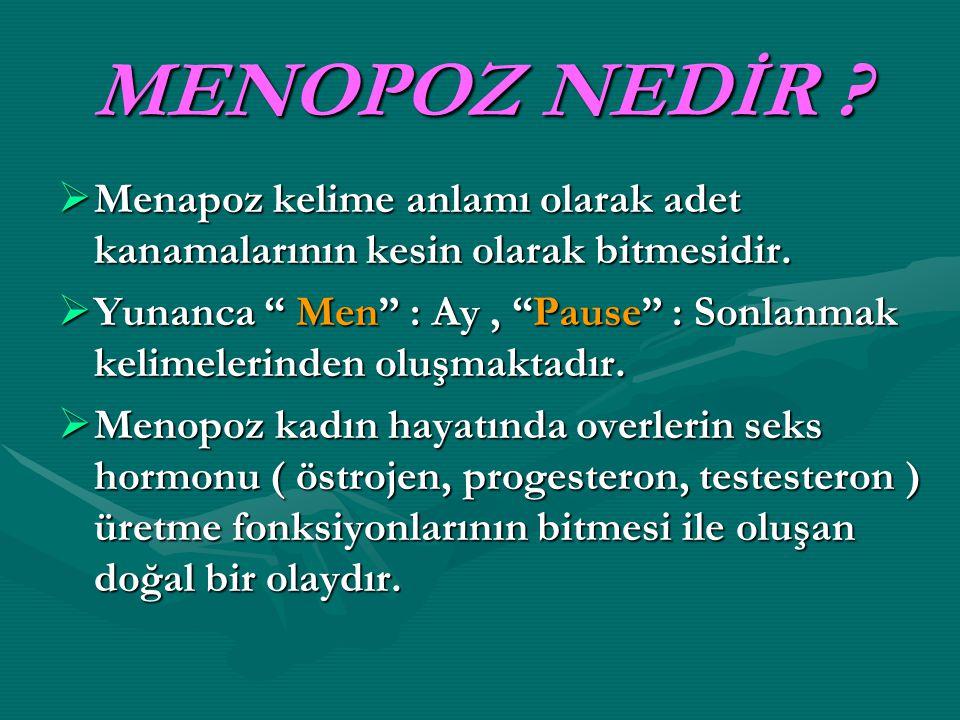 MENOPOZ NEDİR Menapoz kelime anlamı olarak adet kanamalarının kesin olarak bitmesidir.