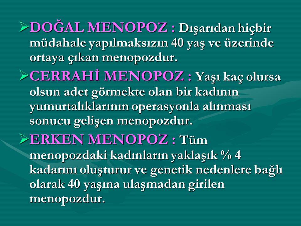 DOĞAL MENOPOZ : Dışarıdan hiçbir müdahale yapılmaksızın 40 yaş ve üzerinde ortaya çıkan menopozdur.