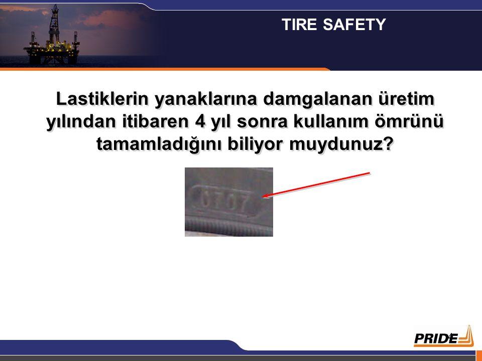 TIRE SAFETY Lastiklerin yanaklarına damgalanan üretim yılından itibaren 4 yıl sonra kullanım ömrünü tamamladığını biliyor muydunuz