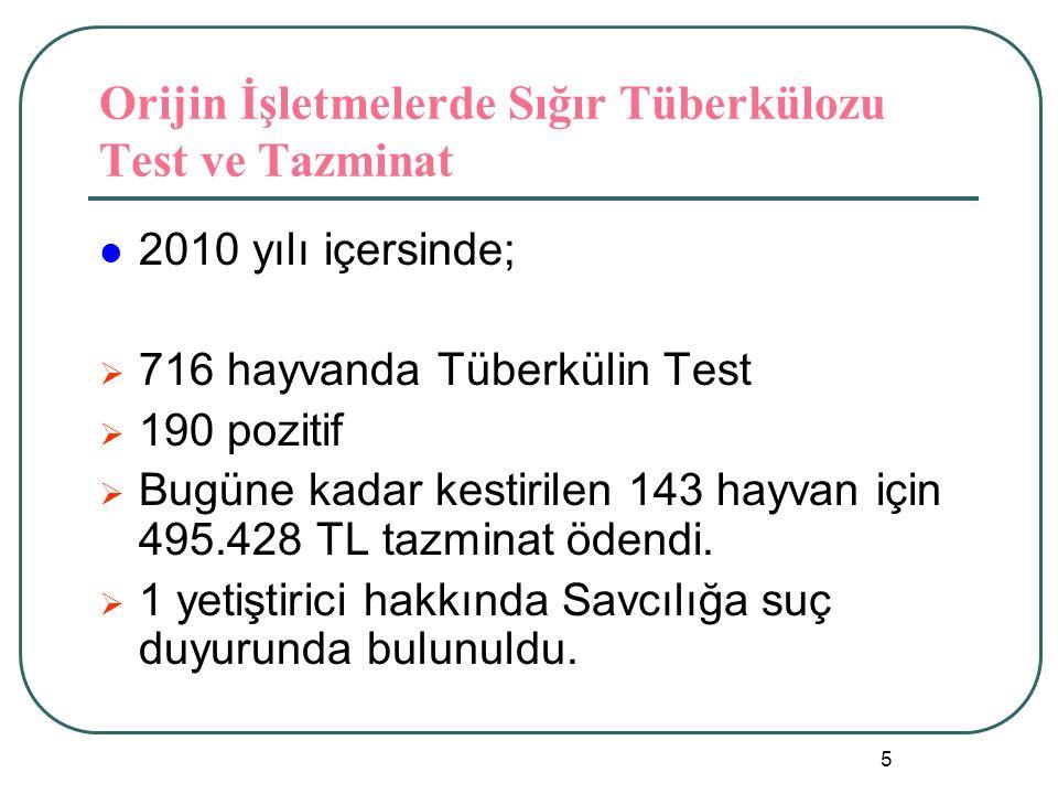 Orijin İşletmelerde Sığır Tüberkülozu Test ve Tazminat