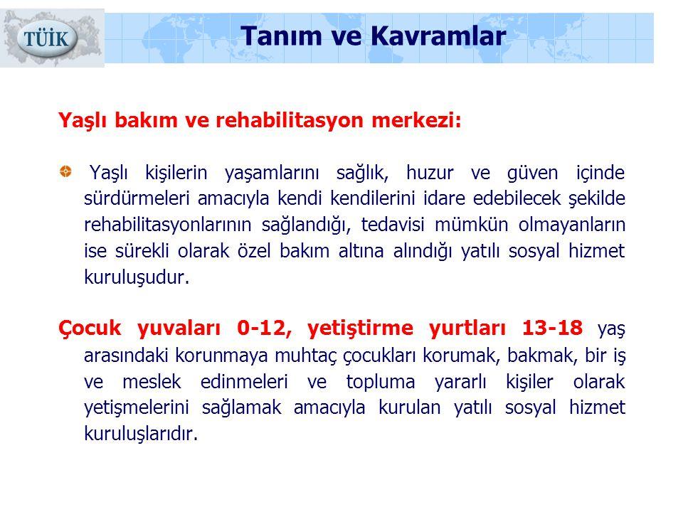Tanım ve Kavramlar Yaşlı bakım ve rehabilitasyon merkezi: