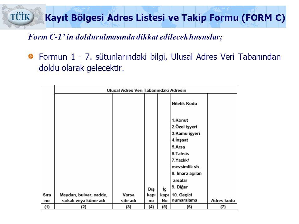 Form C-1' in doldurulmasında dikkat edilecek hususlar;