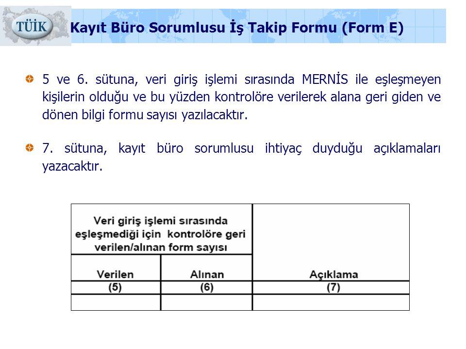 Kayıt Büro Sorumlusu İş Takip Formu (Form E)