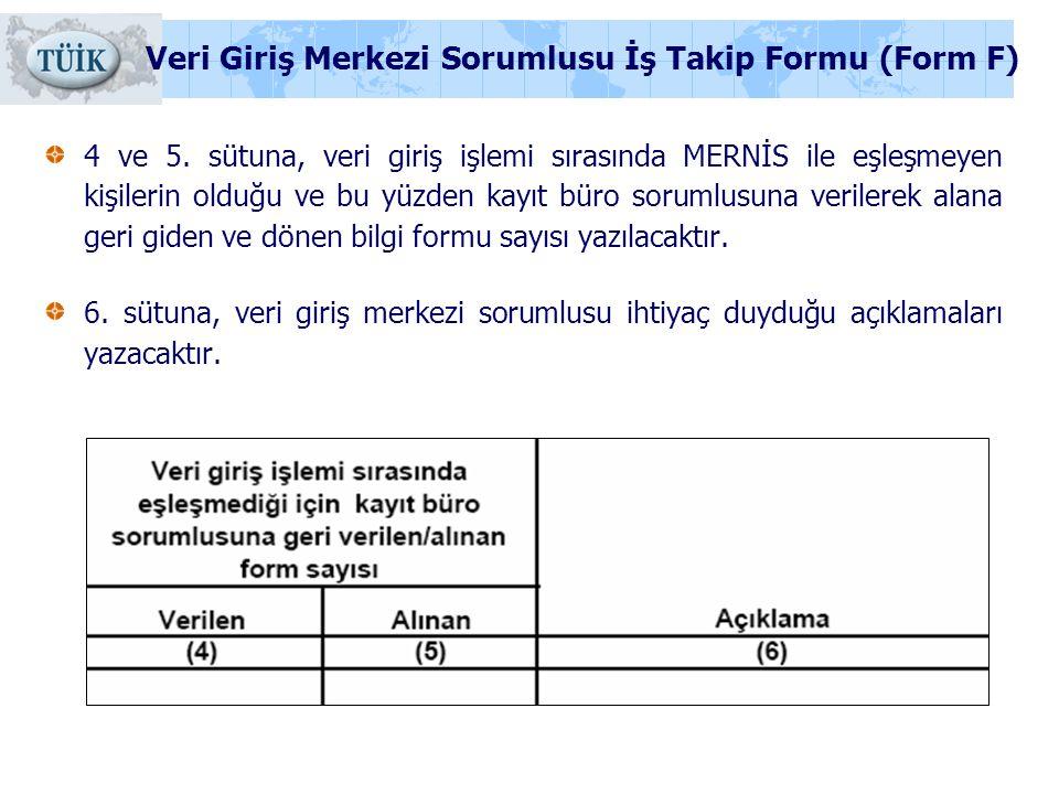 Veri Giriş Merkezi Sorumlusu İş Takip Formu (Form F)