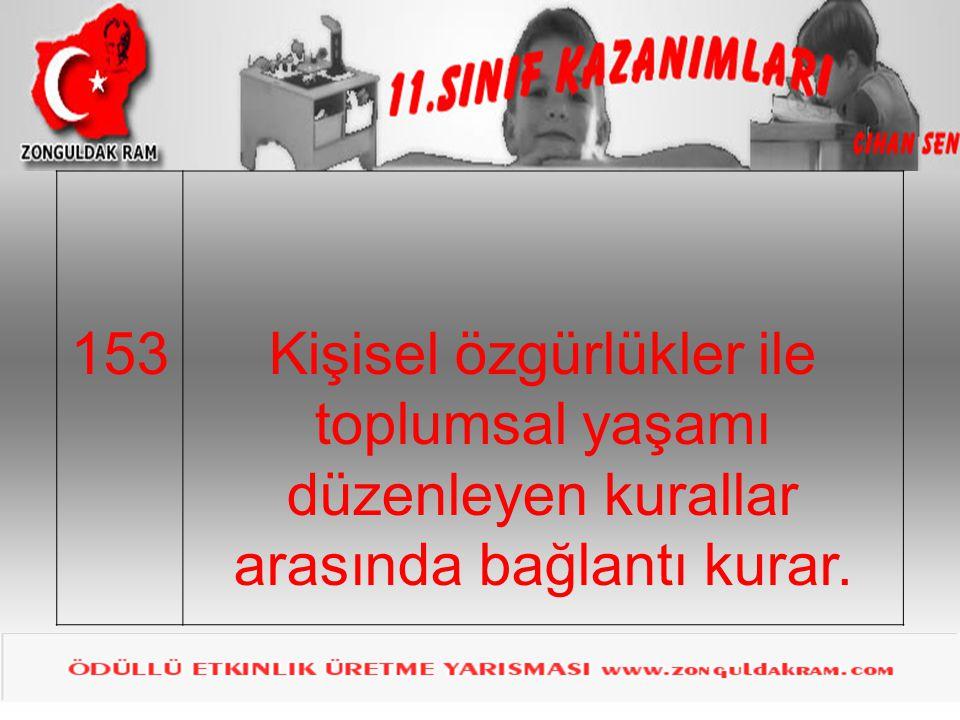 153 Kişisel özgürlükler ile toplumsal yaşamı düzenleyen kurallar arasında bağlantı kurar.