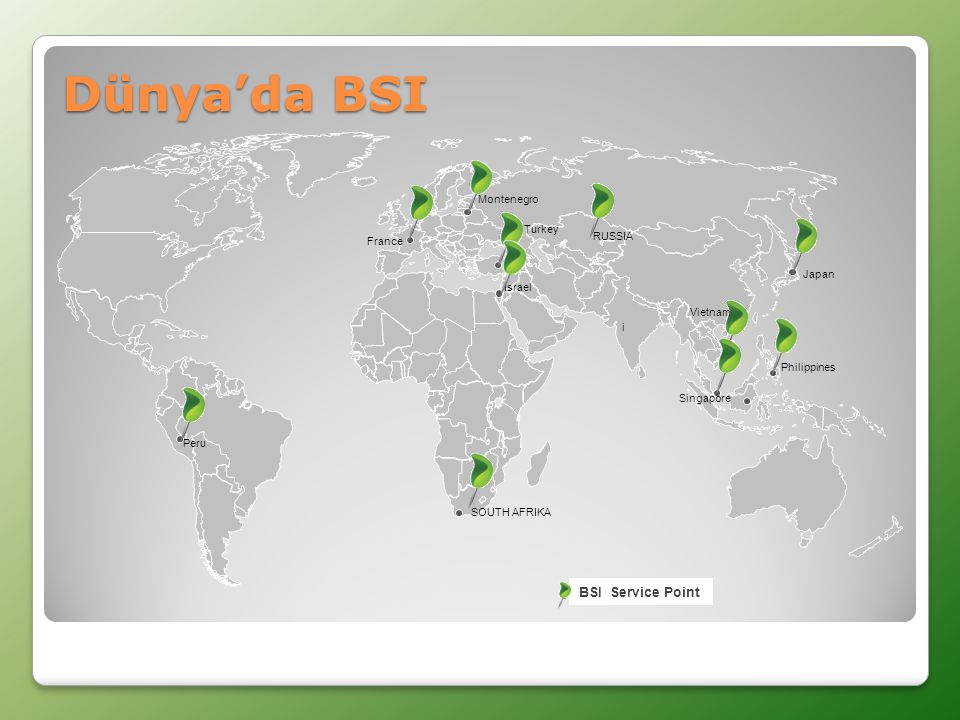 Dünya'da BSI BSI Service Point Montenegro Turkey RUSSIA France Japan