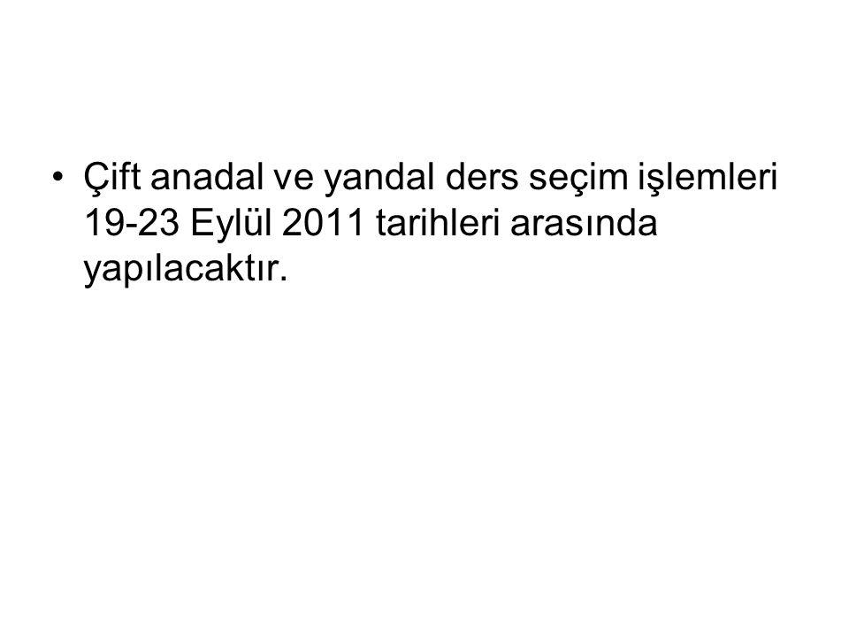 Çift anadal ve yandal ders seçim işlemleri 19-23 Eylül 2011 tarihleri arasında yapılacaktır.