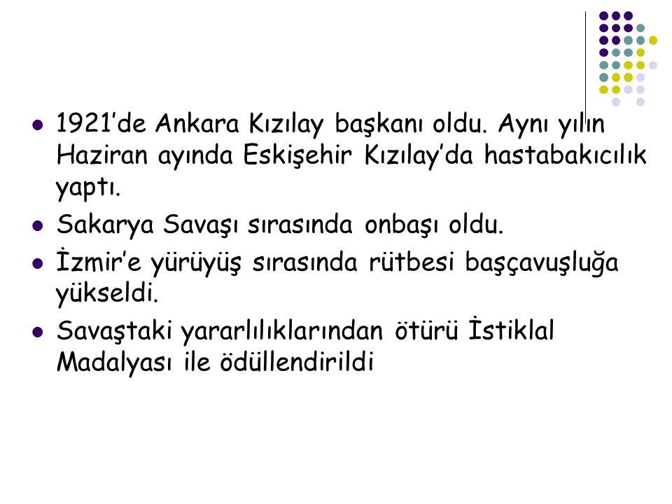 1921'de Ankara Kızılay başkanı oldu