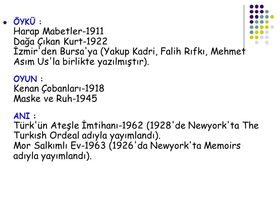 ÖYKÜ : Harap Mabetler-1911 Dağa Çıkan Kurt-1922 İzmir den Bursa ya (Yakup Kadri, Falih Rıfkı, Mehmet Asım Us la birlikte yazılmıştır).