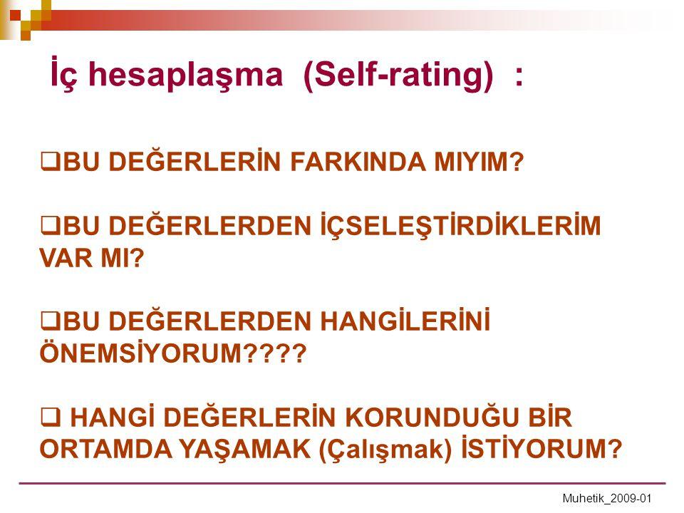 İç hesaplaşma (Self-rating) :
