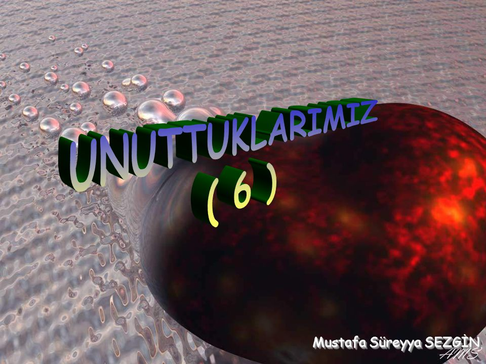 UNUTTUKLARIMIZ ( 6 ) Mustafa Süreyya SEZGİN