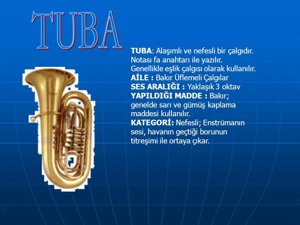 TUBA TUBA: Alaşımlı ve nefesli bir çalgıdır.