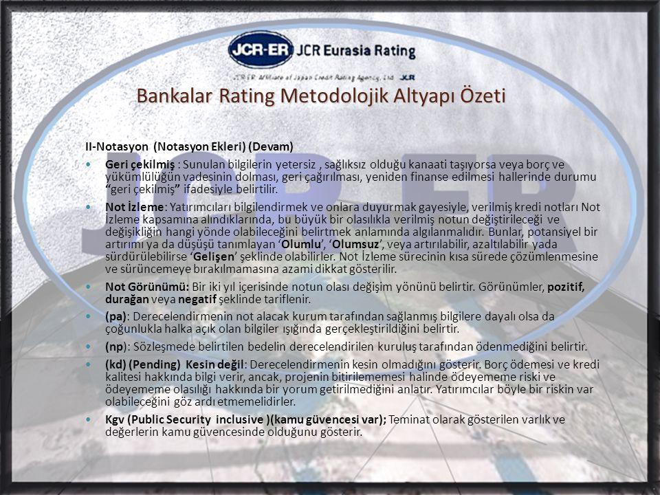 Bankalar Rating Metodolojik Altyapı Özeti