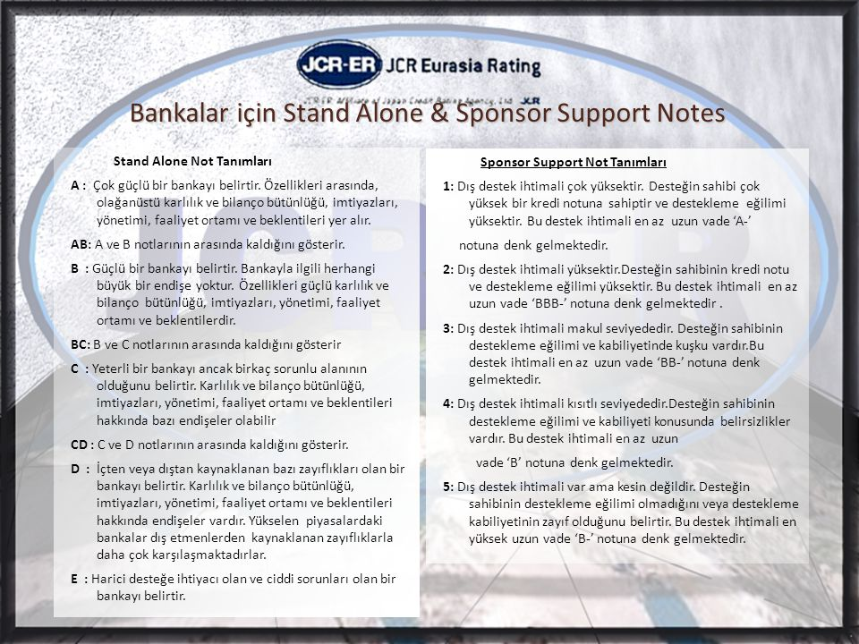 Bankalar için Stand Alone & Sponsor Support Notes