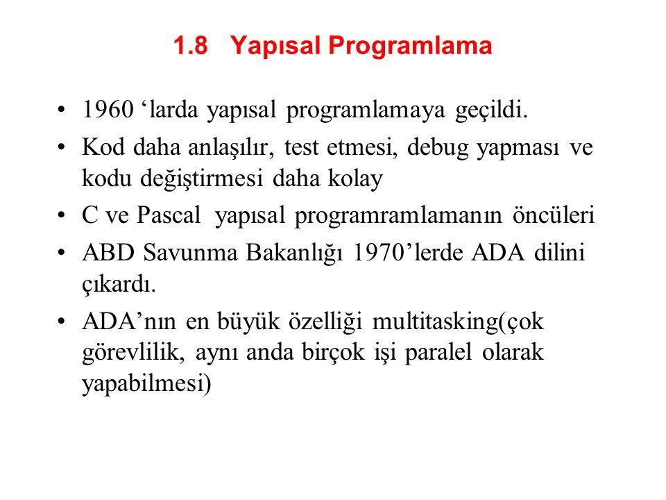 1.8 Yapısal Programlama 1960 'larda yapısal programlamaya geçildi. Kod daha anlaşılır, test etmesi, debug yapması ve kodu değiştirmesi daha kolay.