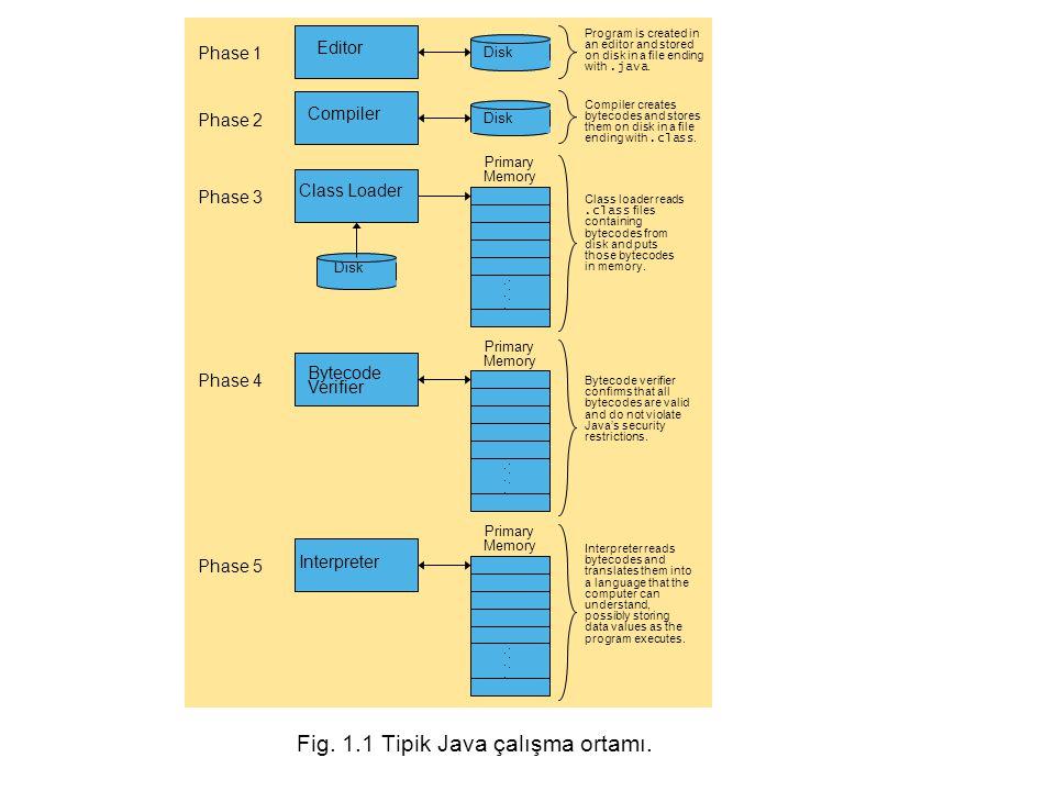 Fig. 1.1 Tipik Java çalışma ortamı.