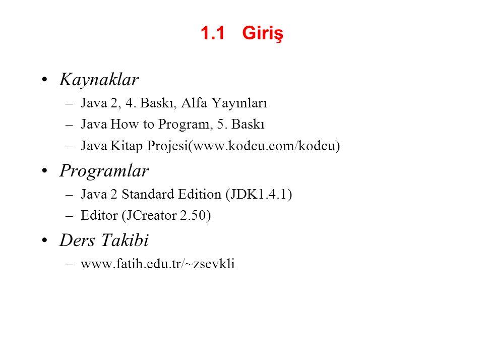 1.1 Giriş Kaynaklar Programlar Ders Takibi
