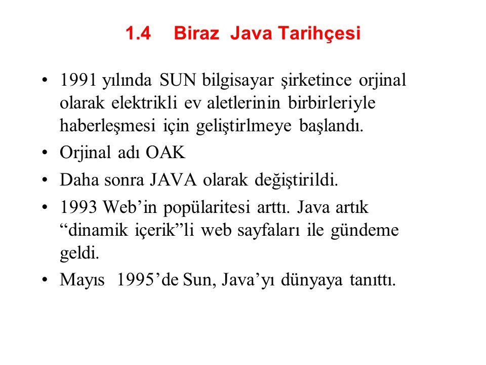 1.4 Biraz Java Tarihçesi