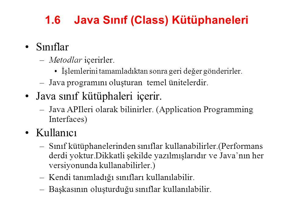 1.6 Java Sınıf (Class) Kütüphaneleri