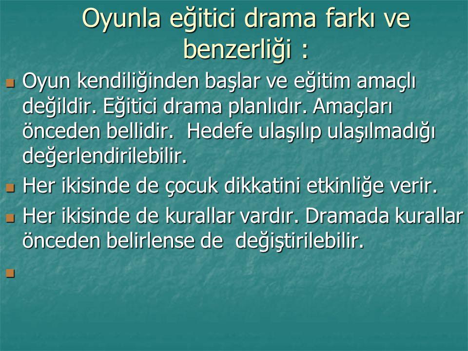 Oyunla eğitici drama farkı ve benzerliği :